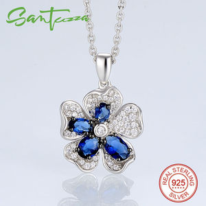 Image 4 - SANTUZZA Silver Flower Jewelry Set Bridal Wedding Blue CZ Stones Ring Earrings Pendant Set 925 Sterling Silver Fashion Jewelry
