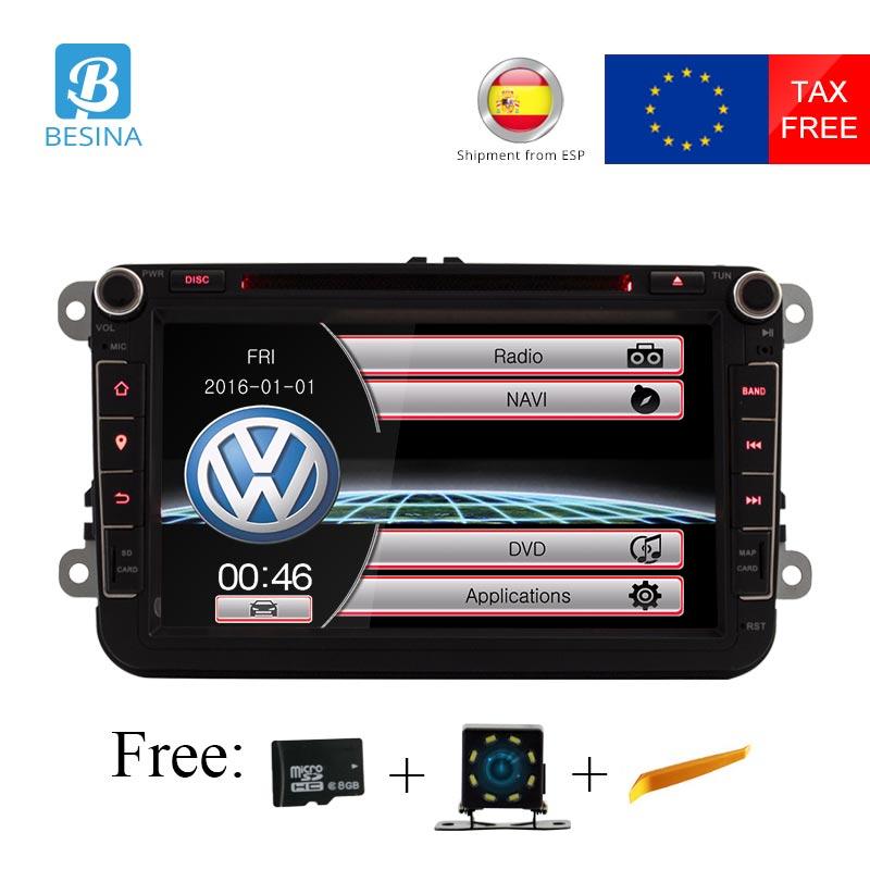 Besina 8 pouce 2 din Voiture DVD GPS radio stéréo lecteur pour Volkswagen VW golf 6 touareg T5 passat B6 sharan Touran polo tiguan Siège