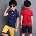 Мальчики Дети Рубашки Поло Топы 2016 Мода Точки Мальчик Комплект Одежды Лета Майка + Брюки Дети Мальчиков Одежда наборы