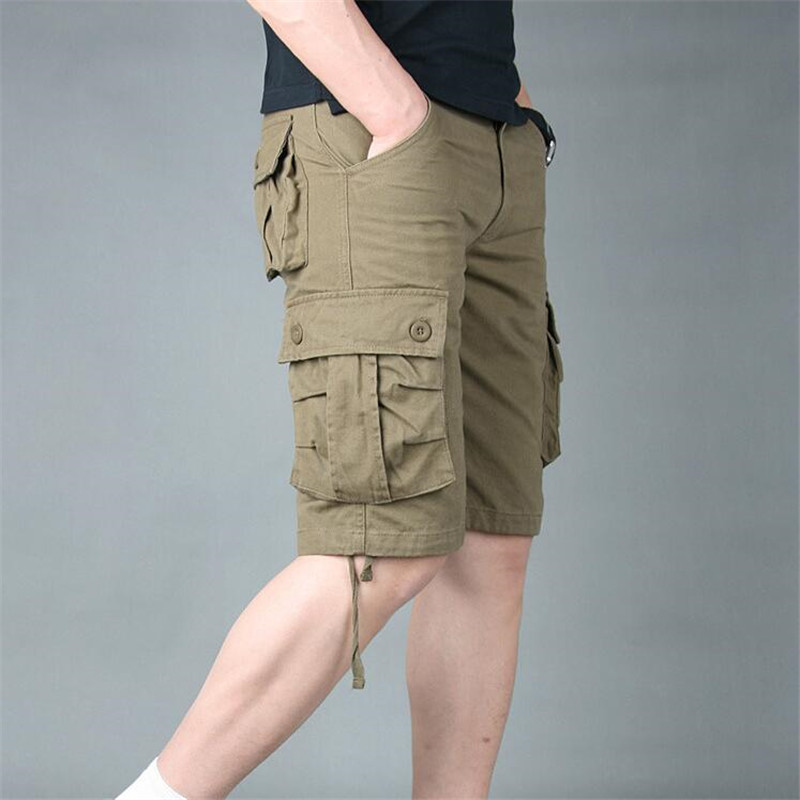 New Summer Mens Cargo Shorts Men Casual Shorts Fashion Pockets Solid Color Army Green Military Shorts Large Size
