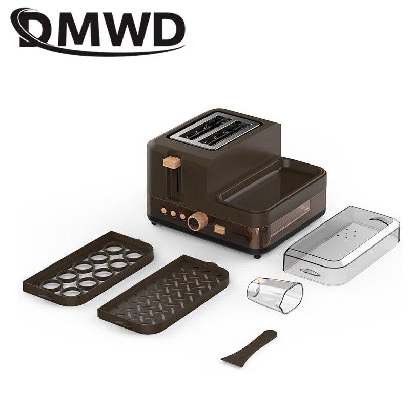 DMWD Многофункциональный Электрический Тостер машина для завтрака хлебопечка 2 ломтика печь для яиц Пароварка сосисок омлет сковорода гриль