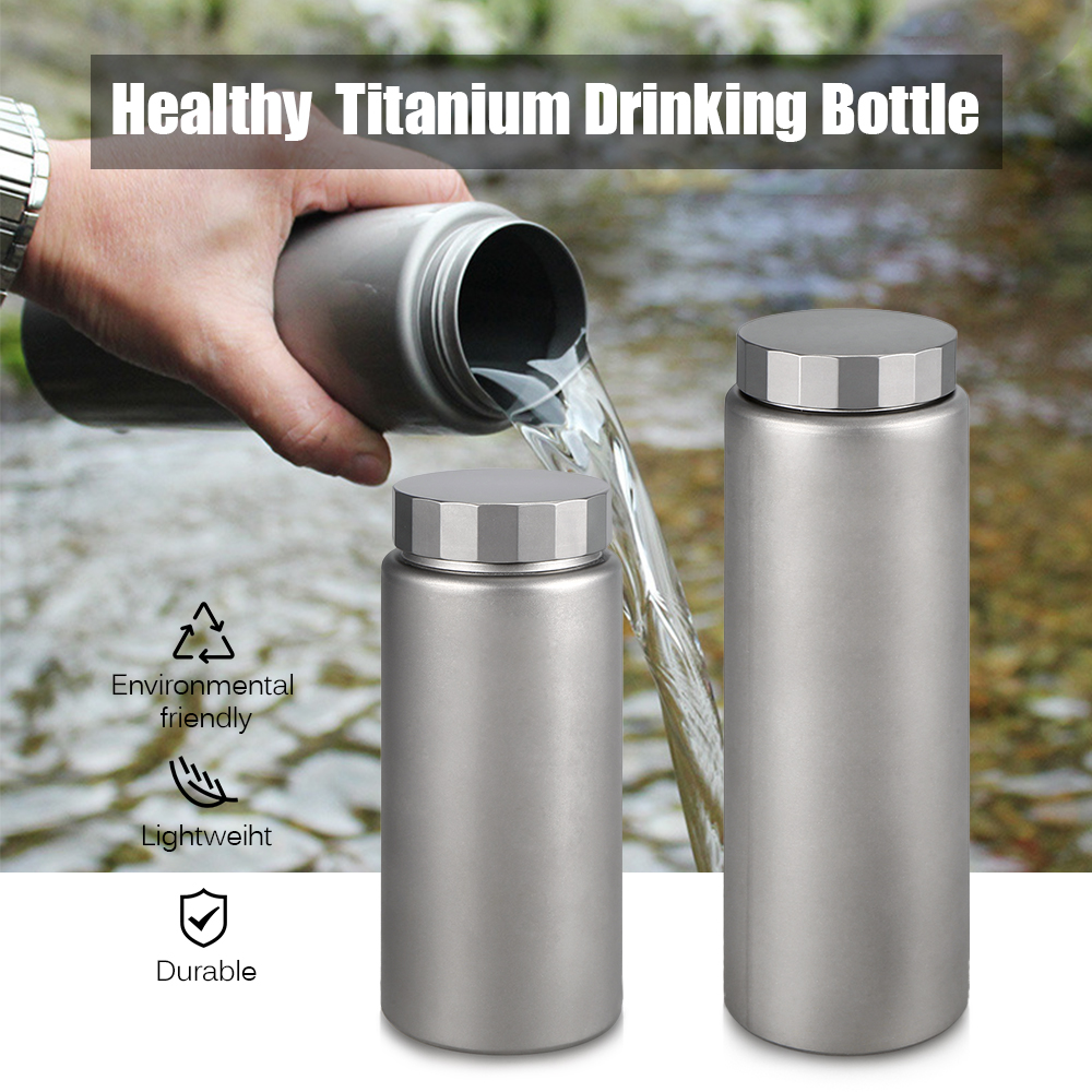 Titanium Water Bottle for Outdoor Cycling Camping Hiking Picnic Traveling Water Bottle Wide Mouth 400ML / 600ML eyki h5018 high quality leak proof bottle w filter strap gray 400ml
