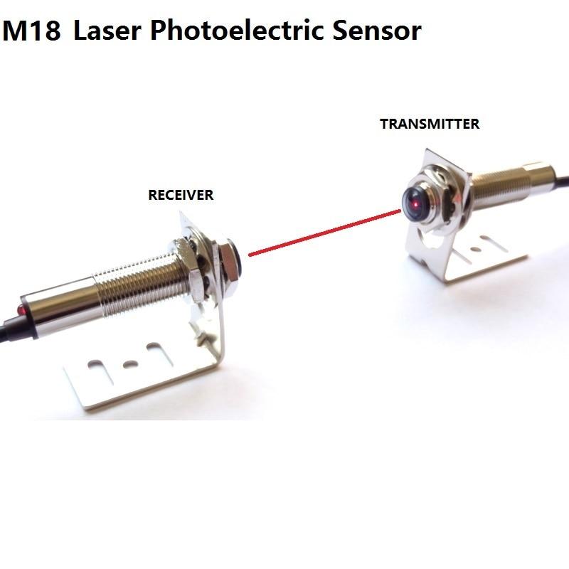 M18 Laser photoelectric sensor visible red light on the laser beam to the NPN PNP NO NC measure distance 20m DC 6V 12V 24V 36V