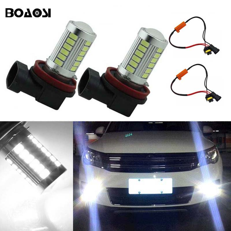 BOAOSI 2x 9006/HB4 Car Canbus Bulbs Reflector Mirror Design Fog Lights No Error For VW Golf 6 MK6 Scirocco T5 Transporter boaosi 1x 9006 hb4 led canbus fog lights no error for volkswagen golf 6 mk6 2009 2012 scirocco 08 on t5 transporter 2003 2016
