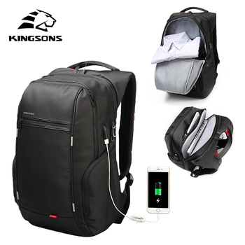 KINGSONS High Quality Laptop Backpack Men Women Fashion Business Casual Travel Backpack Shoulder Bag With External USB Charge laptop bag