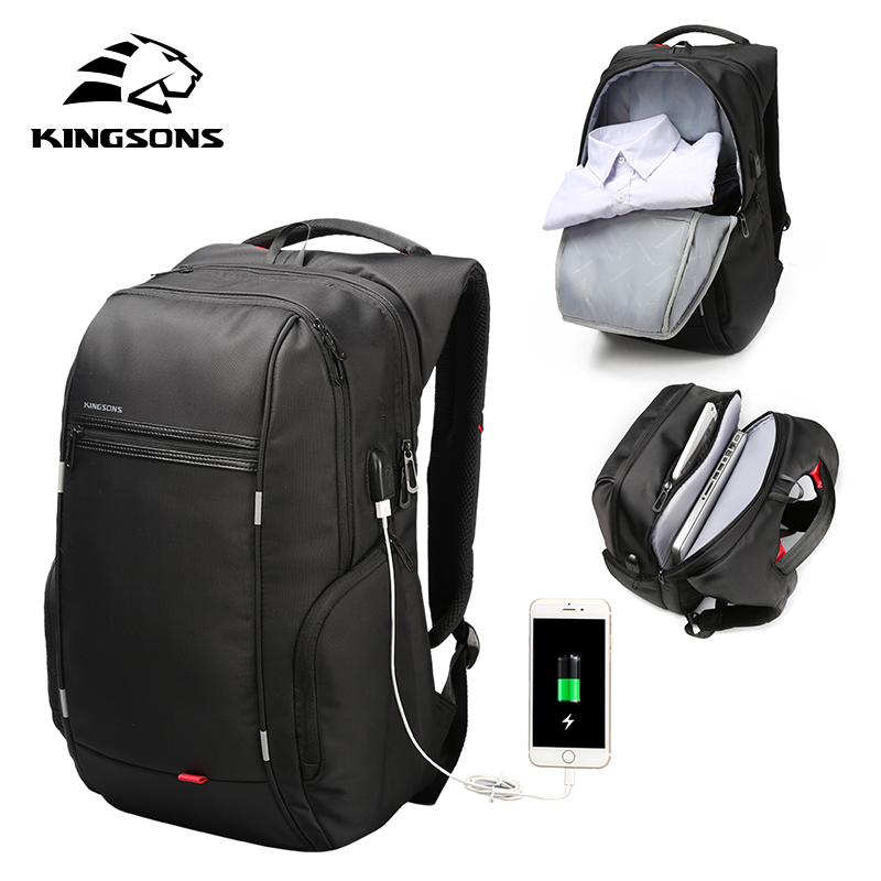 Kingsons alta qualidade portátil mochila de negócios da moda das mulheres dos homens casual viagem mochila bolsa de ombro com carga usb externoMochilas   -