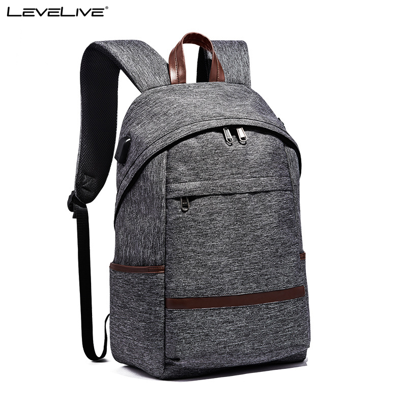 New LeveLive 15.6 Laptop Backpack USB Charge Large Capacity Waterproof Trip Back Bag Men Women School Bags Male Female Bagpack ozuko multi functional men backpack waterproof usb charge computer backpacks 15inch laptop bag creative student school bags 2018