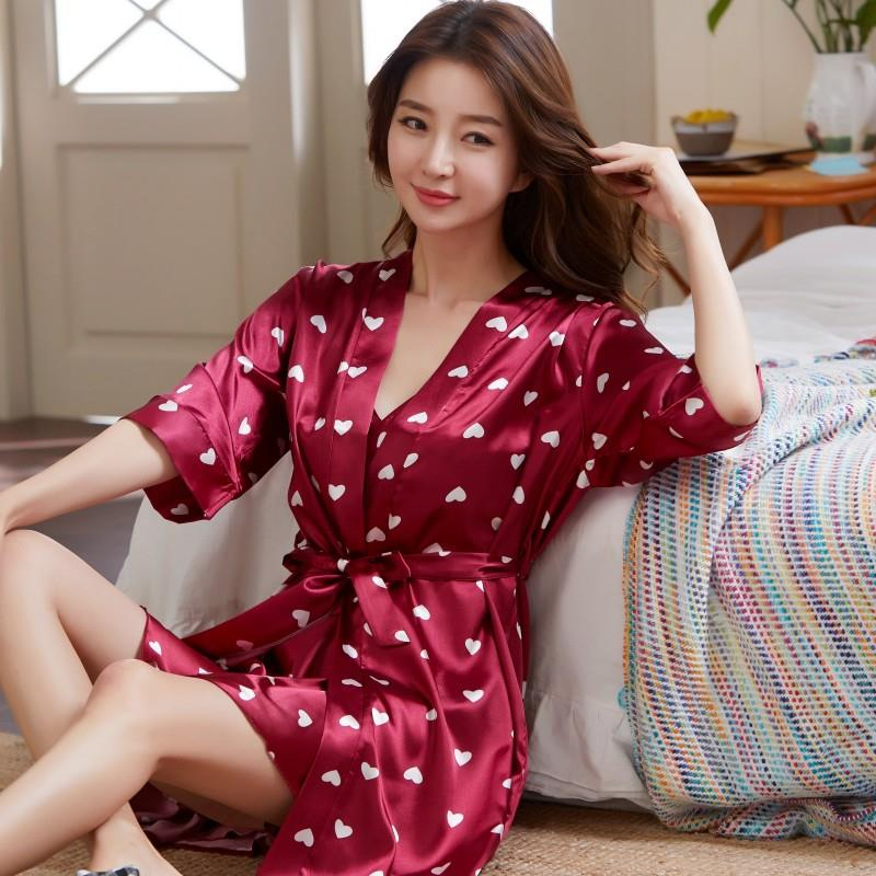 2PCS Set Women nightgown Summer Sleepshirt Plus Size Female Sleepwear Sexy Lady Silk Nighty Sleeveless Floral Sleep Clothing in Nightgowns Sleepshirts from Underwear Sleepwears