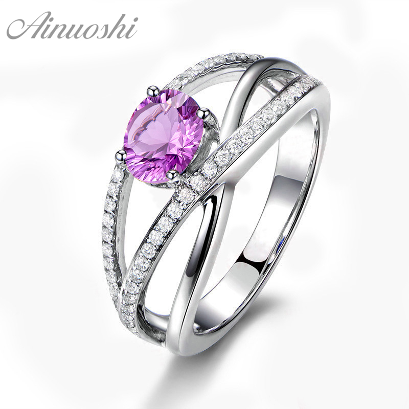 AINUOSHI Natural Amethyst Weave Ring Pure 925 Sterling Silver Hollow Ring 0.8ct Oval Cut Gemstone Engagement Jewelry Women Ring punk style pure color hollow out ring for women