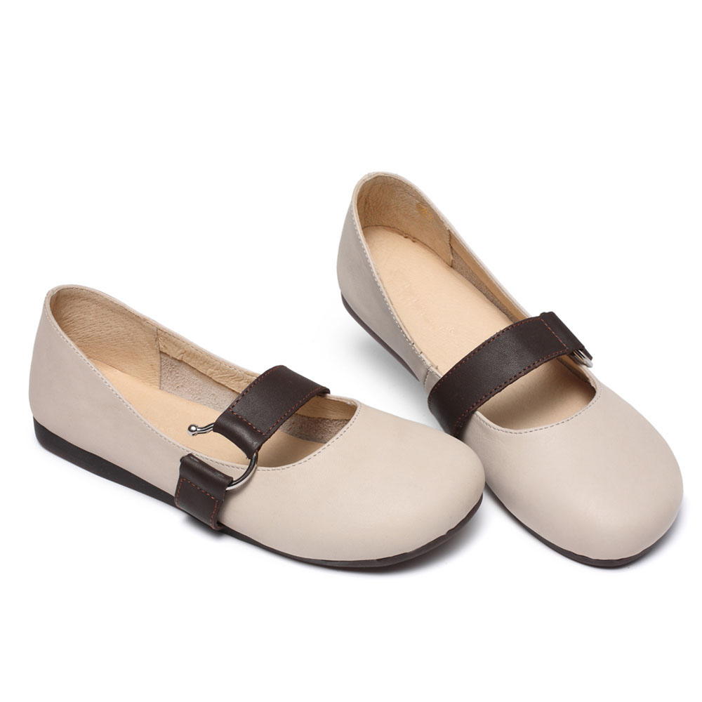Nouvelles 3305 Véritable Femmes Cuir 2018 white Creamy De En Appartements Ceyaneao Chaussures Mode gqRwTwax
