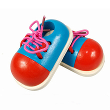 Montessori Toys Educational Wooden Toys for Children Early Learning Kids 3D Lacing Shoes Teaching Aids 1PCS