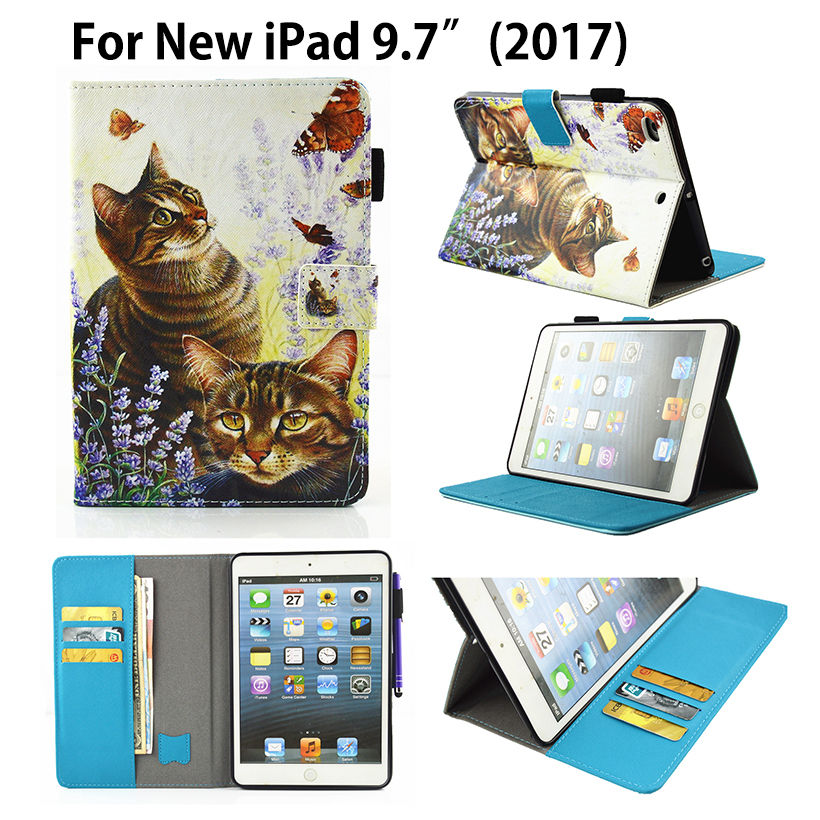 Fashion Cute Cartoon Flip Cover For Apple New iPad 9.7 2017 Case Tablet Funda Model A1822 A1823 Book PU Leather Stand Shell Skin for apple ipad air case flip stand cover pu leather leopard series rotate protective tablet cover coque funda capa
