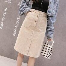 Elegant Streetwear Corduroy Skirts Womens Autumn Winter High Waist Button Midi Skirt Plus Size Harajuku Ladies Skirt jupe femme
