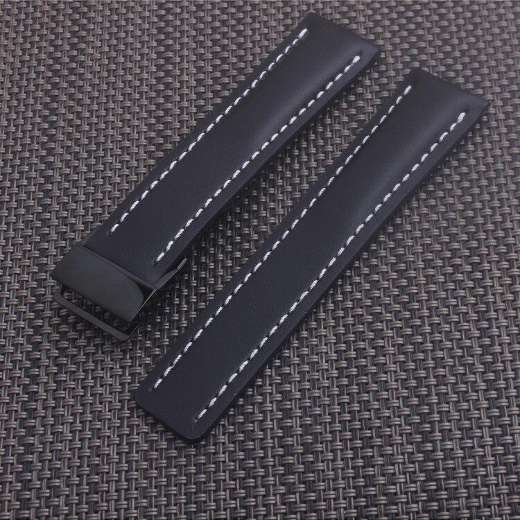Bracelet de montre en cuir véritable noir 22mm 24mm Bracelet pour Breitling