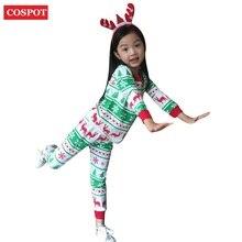 Купить с кэшбэком COSPOT kids Christmas Pajamas Set Baby Boys Girls Reindeer Clothing Sets Girl Boy Cotton Pyjamas Nightwear Set 2017 New 25D