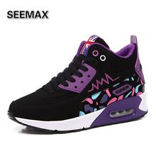 Women Running Shoes Mid High Top 2016 Sports Run Sneaker Girls Colorful Shoes Air Cushion Height Increasing Purple Pink Red