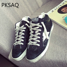 Autumn Winter Leather Stars High-top Board Shoes Women s Flat-bottom Sequins  Do Old. 3 Colors Available fa2fad8f06e0