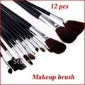 Free Shipping  12 PCS Professional Makeup Brush Set + Black Leather Case  Make Up Brush