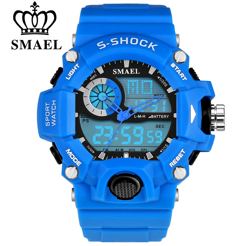 SMAEL Men Sports Watches LED Digital-Watch Fashion Outdoor Waterproof Climbing Rubber Army Military Watch Reloj Hombre