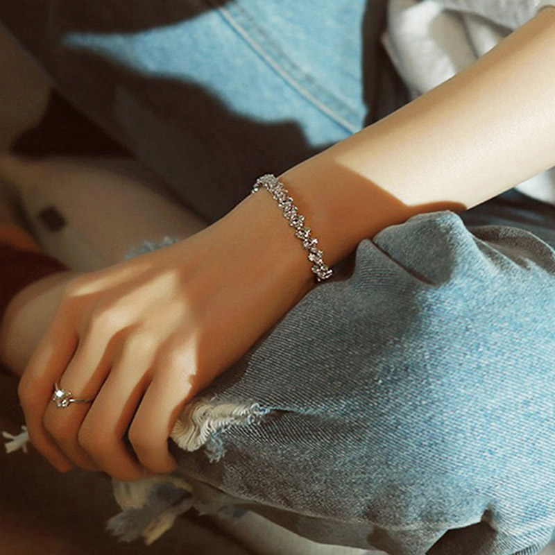 Fashion Rose Gold Rhinestone Natural AAA Zircon Safety Buckle Bracelet Gold Silver  Bangles charm Women DIY Jewelry Gifts
