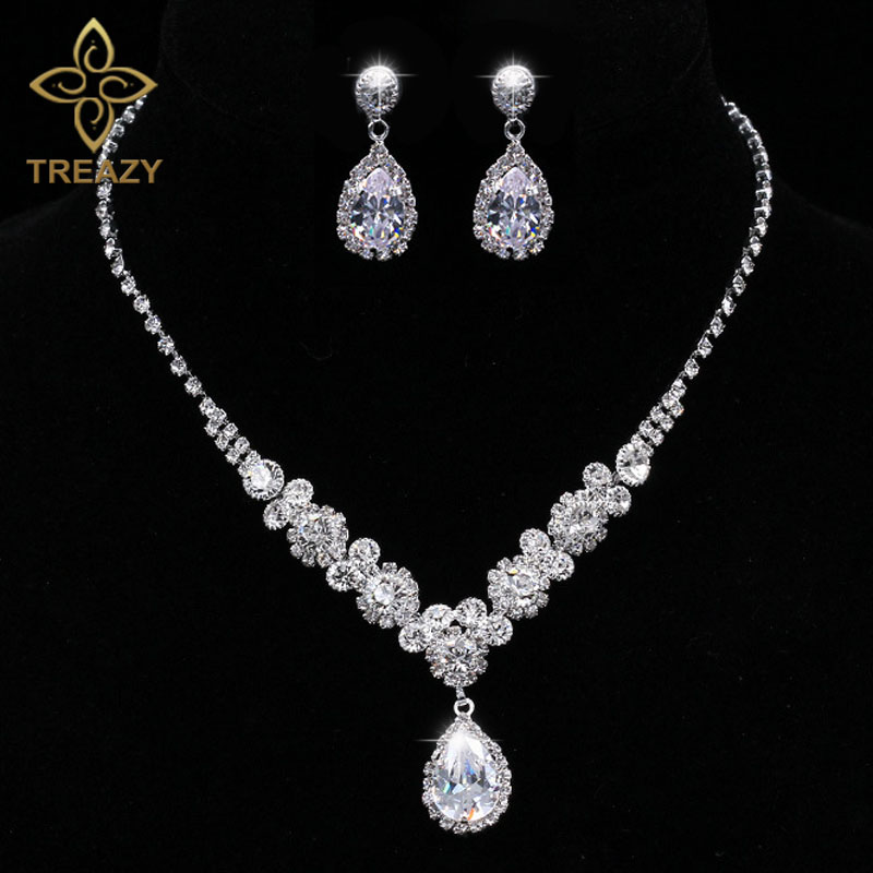 TREAZY Luxury Cubic Zircon Crystal Bridal Jewelry Sets Waterdrop Necklace Earrings Sets for Women Wedding Party Jewelry