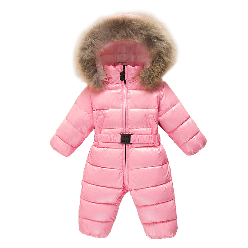 Mioigee 2018 Children Winter Jumpsuit Kids Duck Down Snowsuit Baby Girls Rompers Overalls Hooded Boys Outerwear 9M-3T mioigee baby boys jumpsuit winter rompers baby girl rompers hooded children jumpsuit infant boy snowsuit overalls duck down