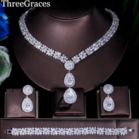 ThreeGraces African Nigerian Wedding Bridal Costume Jewelry Set Silver Color CZ Neckalce Earring Bracelets Ring For Brides JS058