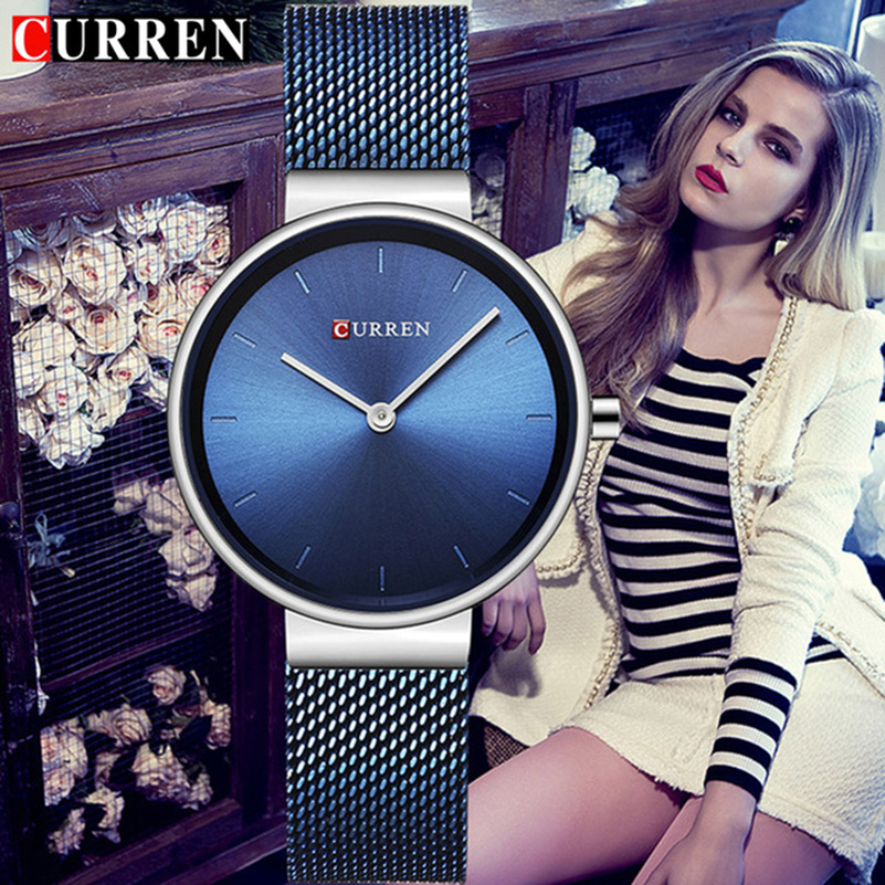 CURREN 9016 relojes de mujer de marca de lujo de malla cinturón de cuarzo para mujer relojes deportivos reloj de pulsera femenino Montre para mujer