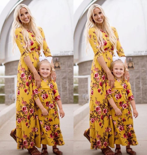 34f7a6120ee97 Family Matching Outfits Dress Mother Daughter Girls Yellow Floral Print  Maxi Dress Summer Boho Beach ...