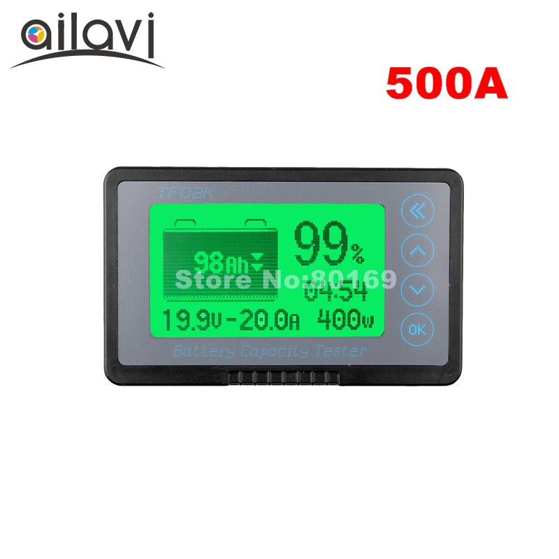 TF03K Large Screen 12-72V 500A Coulometer Professional Vehicle Battery Capacity Tester Voltage Current DC Display Counter