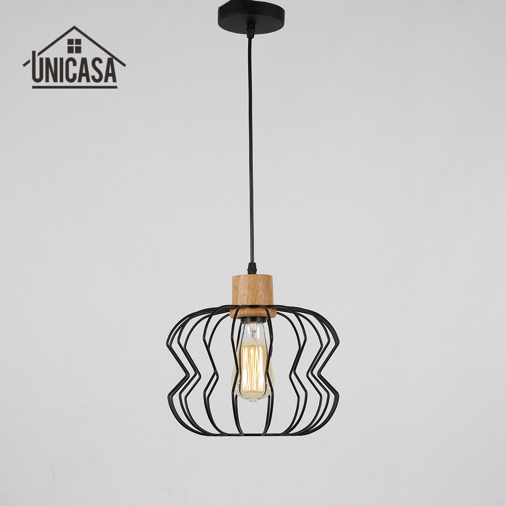 Industrial chandelier lighting vintage wooden led light for Ceiling lamp wood