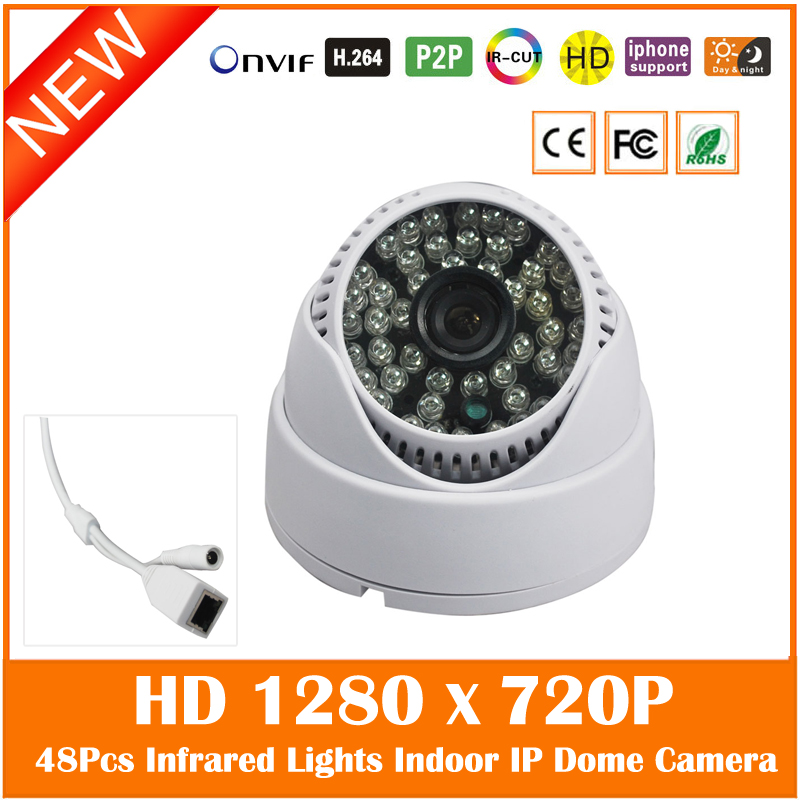 Hd 720p Dome Ip Camera 48pcs Infrared Night Vision Onvif Security Surveillance Mini White Cctv Webcam Freeshipping Hot Sale hd 1080p indoor poe dome ip camera vandal proof onvif infrared cctv surveillance security cmos night vision webcam freeshipping
