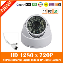 Hd 720p Dome Ip Camera 48pcs Infrared Night Vision Onvif Security Surveillance Mini White Cctv Webcam Freeshipping Hot Sale