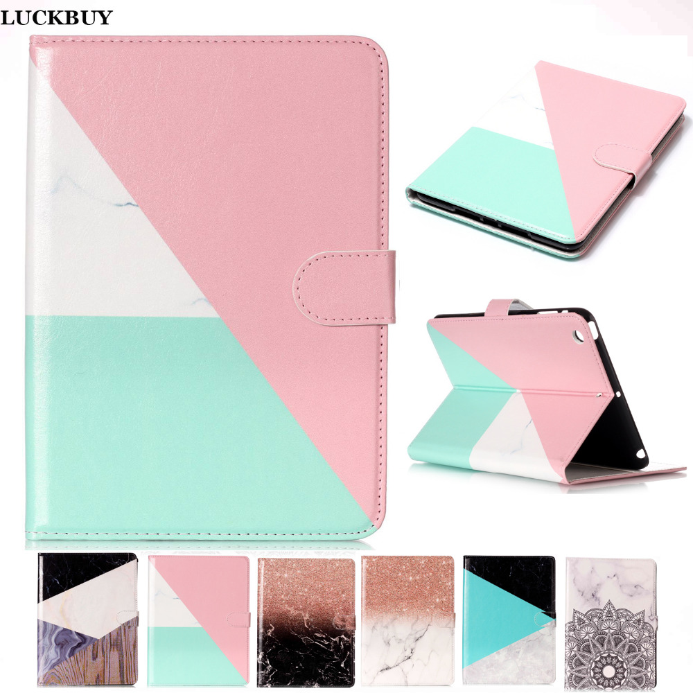 LUCUBUY Marble Pattern PU Leather Flip Case For Apple iPad mini 1 2 3 Case Smart Cover Tablet Stand Original Ultra Slim Shell