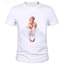 Sexy Marilyn Monroe Printed Tshirt For Women Short Sleeve Casual Painted White Shirt Top Tee Big Size tops B2-89