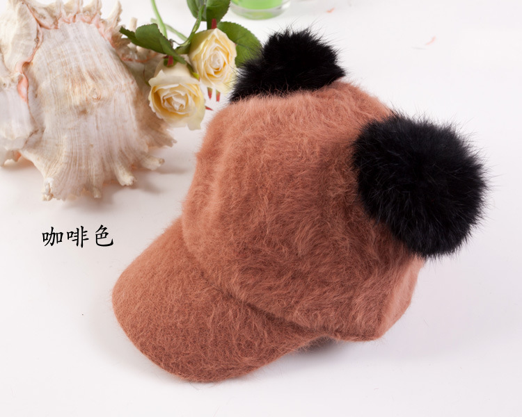 082fd8ab36a Cute Children Autumn Winter Hats With Pom poms Panda Ear Baseball Cap For  Kids Faux Rabbit Fur Knitted Hat