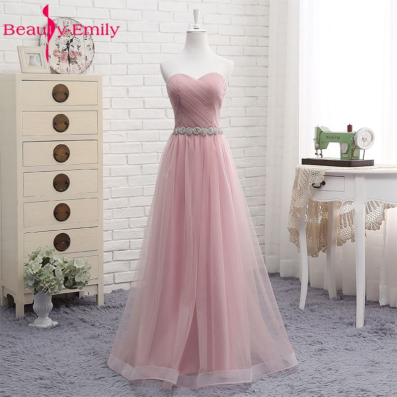 Beauty Emily High Quality Tulle Long Short Bridesmaid Dresses 2019 Formal A-line Vintage Party Prom Dresses Off The Shoulder