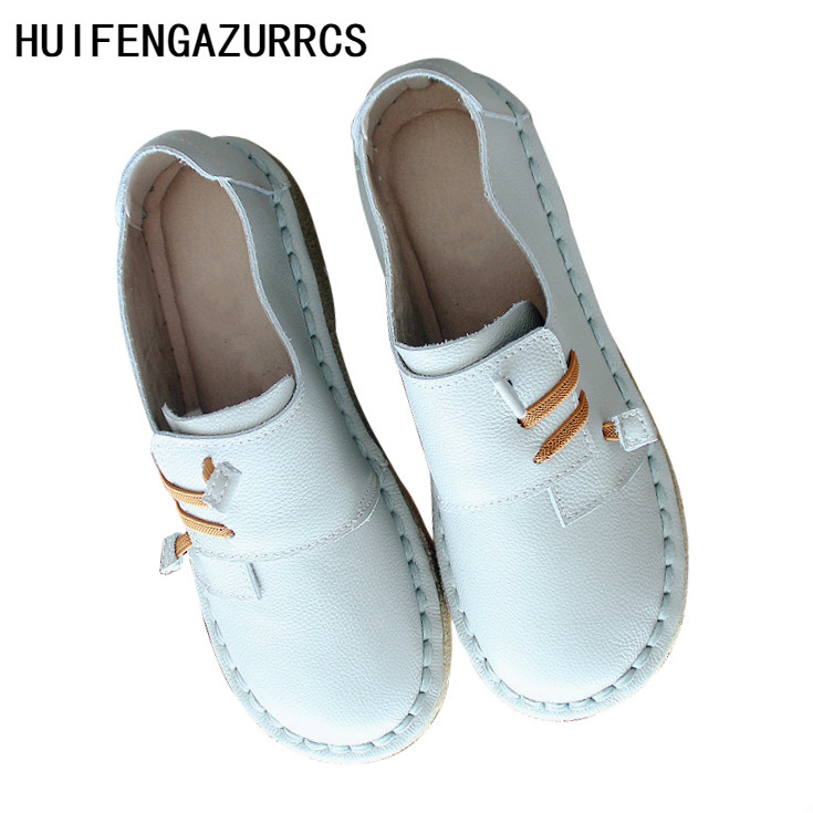 HUIFENGAZURRCS New Female pure handmade Retro Vintage forest series cattle leather super soft sole comfortable single
