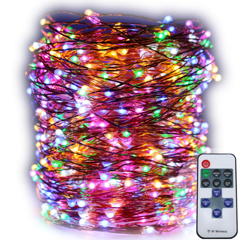 5X10m 33ft 100 LED varm vit brun koppar tråd fjärrkontroll fe ljus, - Festlig belysning - Foto 4