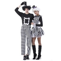Adult Jester Couples Costumes Deluxe Freaky Killer Clown Costume Diamond Stripes Pattern Outfit Scary Halloween Fancy