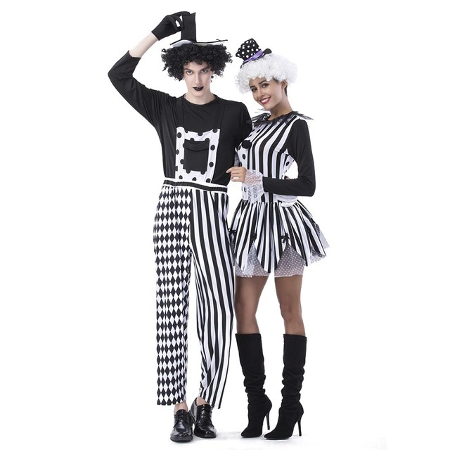 Adult Jester Couples Costumes Deluxe Freaky Killer Clown Costume