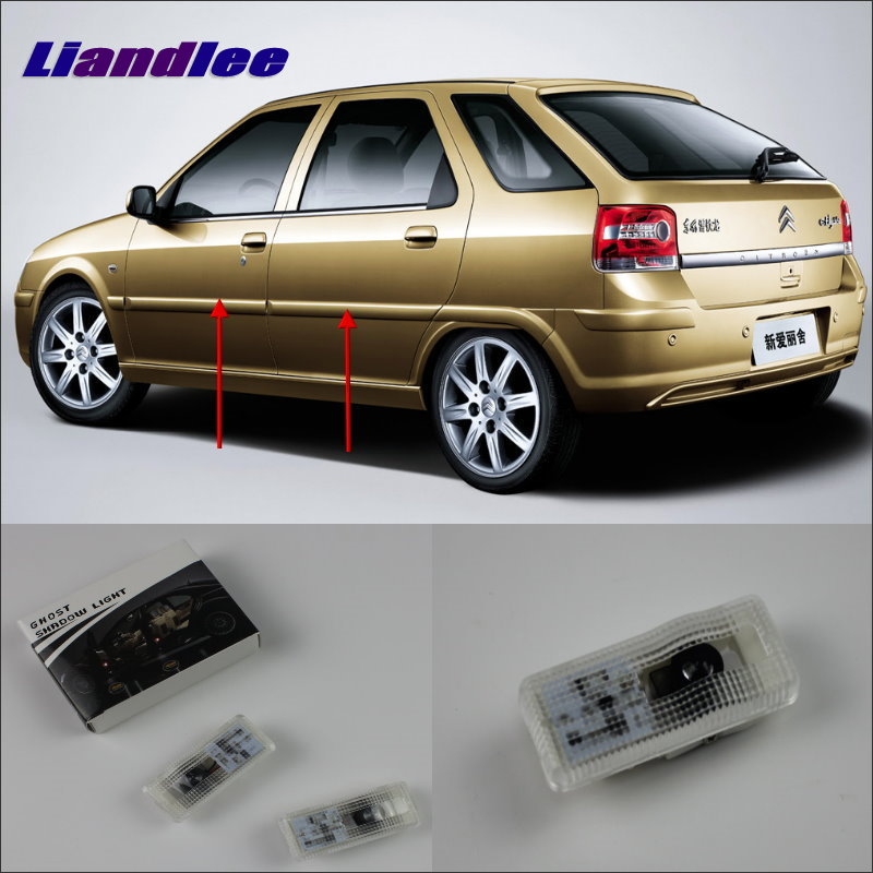 Liandlee For Citroen Ctriomphe 2006~2012 Door Ghost Shadow Lights Car Brand Logo LED Projector Welcome Light Courtesy Doors Lamp