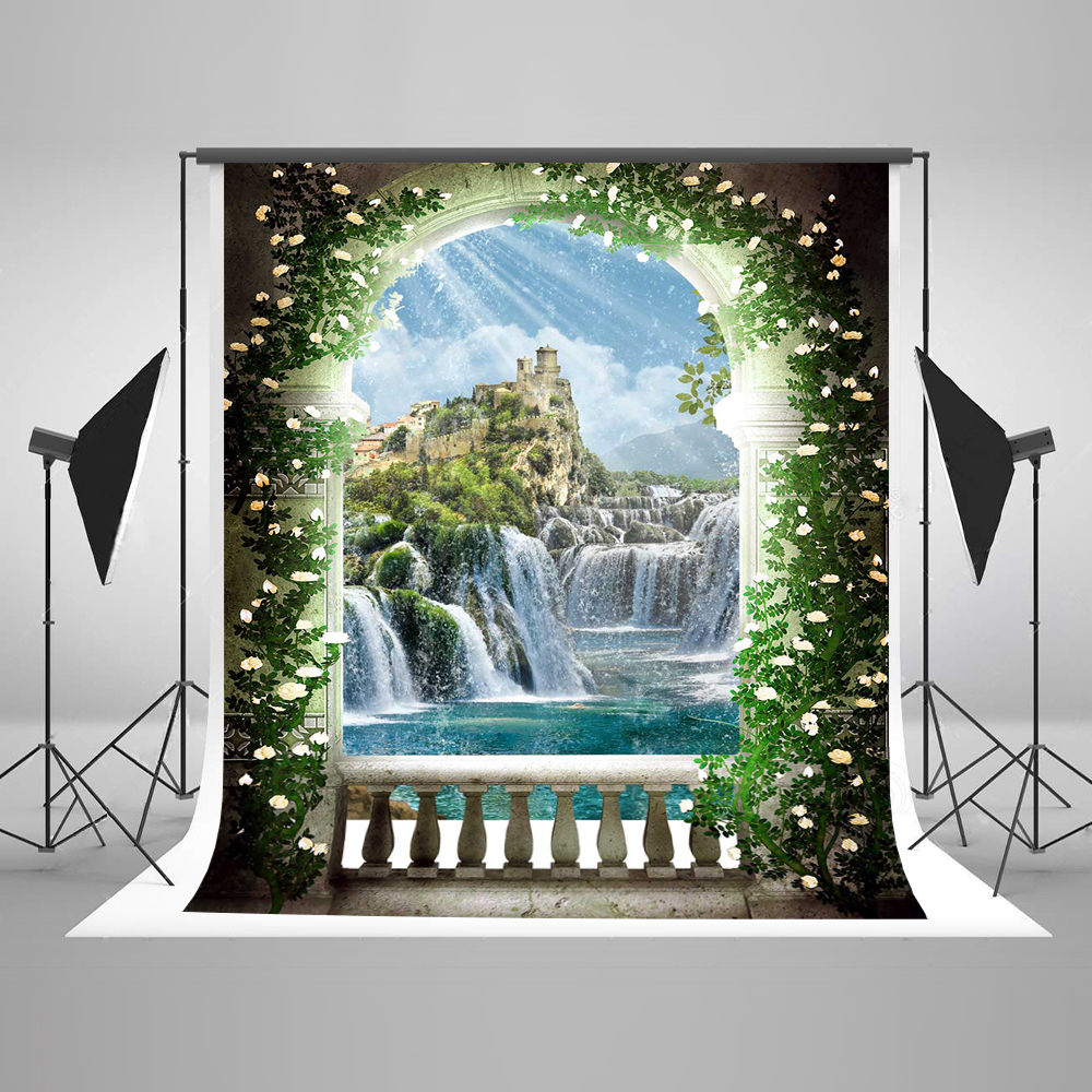 Kate China Scenis Photography Backdrops  Arched Door Photo Backdrop Flowers With Mountain Cotton  Backgrounds For Photo Studio 300 600cm 10ft 20ft backgrounds backdrop wedding photography backdrops grass covered door photography backdrops