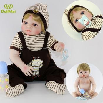 "23""57cm whole silicone reborn baby boy dolls toys child birthday gift blond hair Bebes reborn menino corpo de silicone inteiro"