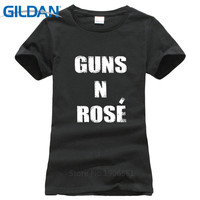 Interesting Gildan Short Sleeve Women Printing Machine Guns N Rose Trendy Drinking Champagne Weekend Crew Neck T Shirts