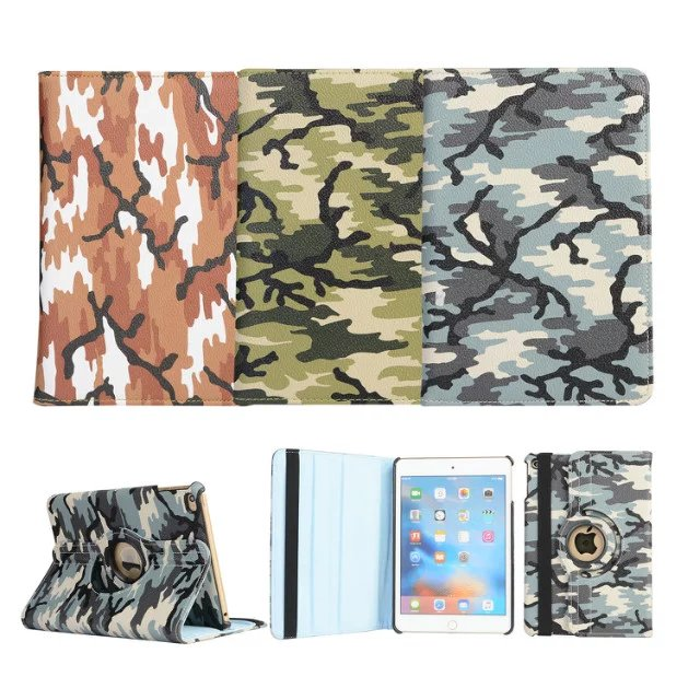Army Camo Camouflage Pattern 360 Rotating PU Leather Case Flip Cover For Apple iPad Mini 4