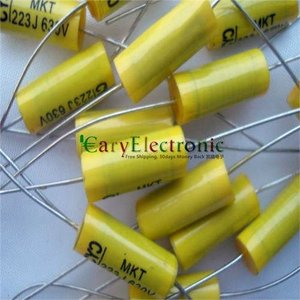 Image 4 - Wholesale and retail long leads yellow Axial Polyester Film Capacitors electronics 0.022uF 630V fr tube amp audio free shipping