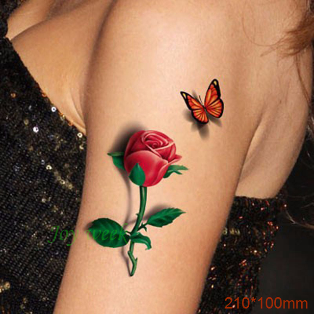 a8c8ccbbe Waterproof Temporary Tattoo Sticker on body sexy 3D rose tattoo flower  tatto stickers flash tatoo fake