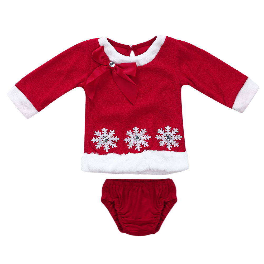 Christmas Snowflake Baby Girls Clothes Set Cotton Plush Long-Sleeved Shirt+Brief Pants Children Fashion Outfits Suit for Girls
