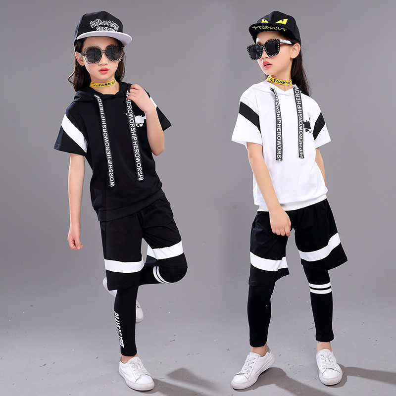 1 Set Kids Hip Hop Clothing For Girls Boys Short Sleeve Hoodies Tops Jogger Pants Jazz Dance Costumes Ballroom Dancing Clothes